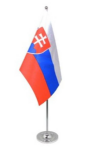 Slovakia Desk / Table Flag with chrome stand and base
